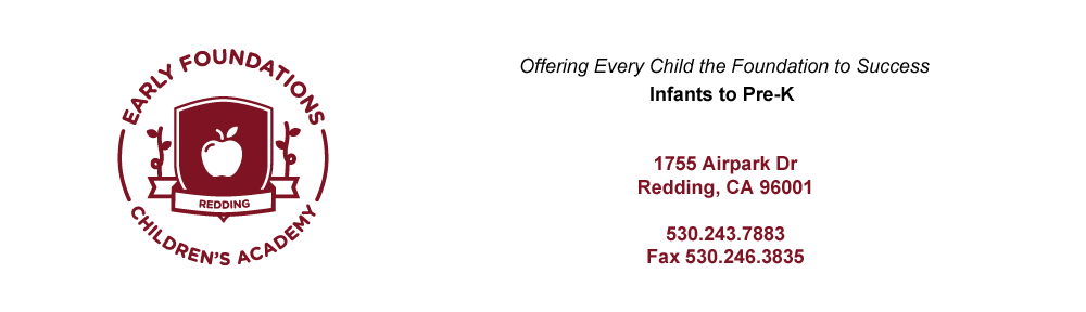 Redding CA Child Care for Infants, Toddlers, Preschool Pre-K and School Age in Redding | Early Foundations Children's Academy | Trusted Child Care for Infants, Toddlers, Preschool and Pre-K